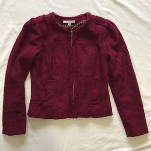 CABI Britt Wool Boucle Merlot Burgundy Zip Jacket